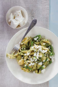 Pasta with zucchini and basil