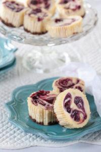 Personal cheesecake with jam swirl