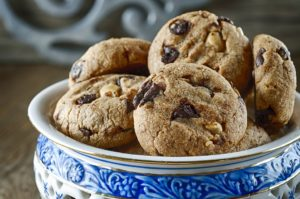 Chocolate Chip Cookies with Caramelized Peanuts